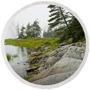 Rocky Shore By The Narrows To Mount Desert Island Round Beach Towel