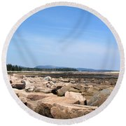 Rocky Shore To Rocky Mountain Round Beach Towel
