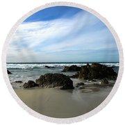 Rocky Shoreline At Spanish Bay Round Beach Towel
