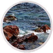 Rocky Shoreline - Coast -  Painterly Effects -  Panorama Round Beach Towel