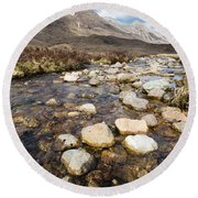 Rocky Stream From Beinn Eighe Round Beach Towel