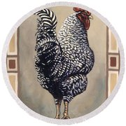 Rocky The Rooster Round Beach Towel