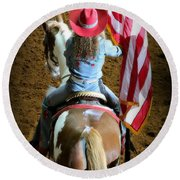 Rodeo America - Land Of The Free Round Beach Towel