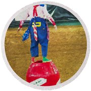 Rodeo Barrel Clown Round Beach Towel