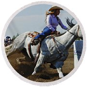 Rodeo Barrel Racer Round Beach Towel