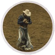 Rodeo Cowboy Dusting Off Round Beach Towel