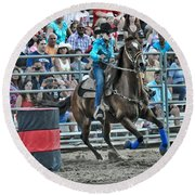 Rodeo Cowgirl Round Beach Towel by Gary Keesler