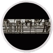 Rodeo Fence Sitters- Sepia Round Beach Towel