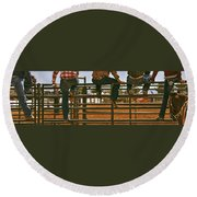 Rodeo Fence Sitters- Warm Toned Round Beach Towel