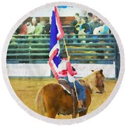 Rodeo Flag Round Beach Towel