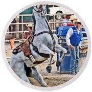 Rodeo Horse Cheers Round Beach Towel