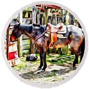 Rodeo Horse Three Round Beach Towel
