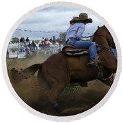 Rodeo Ladies Barrel Race 1 Round Beach Towel