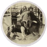 Rodeo Prepared To Be Punished Round Beach Towel