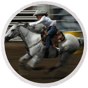 Rodeo Riding A Hurricane 1 Round Beach Towel