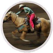 Rodeo Riding A Hurricane 2 Round Beach Towel