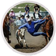Rodeo Steer Wrestling Round Beach Towel