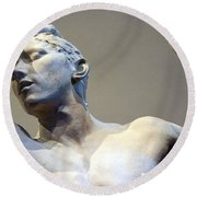 Rodin's The Vanguished Up Close Round Beach Towel