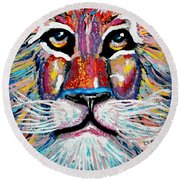 Rodney Abstract Lion Round Beach Towel