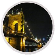 Roebling Bridge II Round Beach Towel