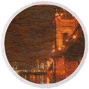 Roebling Bridge Stone N Wood Round Beach Towel
