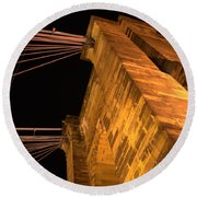 Roebling Tower I Round Beach Towel