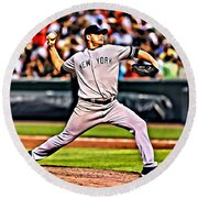 Roger Clemens Painting Round Beach Towel