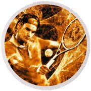 Roger Federer Clay Round Beach Towel