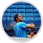 Roger Federer  Round Beach Towel by Nishanth Gopinathan