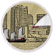 Roger's Centre And Tall Ship Round Beach Towel