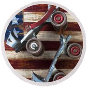 Rollar Skates With Wooden Flag Round Beach Towel
