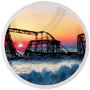 Roller Coaster After Sandy Round Beach Towel by Tony Rubino