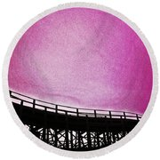 Rollercoaster In Pink Round Beach Towel