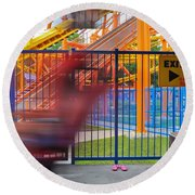 Rollercoasters At Amusement Park Round Beach Towel
