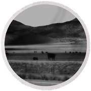 Rolling Hills And Cattle In Black And White Round Beach Towel