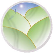 Rolling Hills - When The Skies Are Blue Round Beach Towel