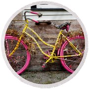 Rolling On Pink Round Beach Towel