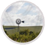 Rolling Plains Windmill Round Beach Towel
