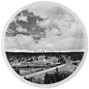 Rollinsville Colorado Small Town 181 In Black And White Round Beach Towel