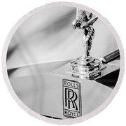 Rolls-royce Hood Ornament -782bw Round Beach Towel