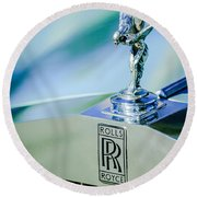 Rolls-royce Hood Ornament -782c Round Beach Towel
