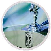 Rolls-royce Hood Ornament -782c Round Beach Towel