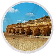 Roman Aqueduct From Mount Carmel 12 Km Away To Mediterranean Shore In Caesarea-israel  Round Beach Towel