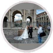 Roman Colosseum Bride And Groom Round Beach Towel