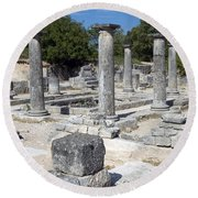 Roman Columns Round Beach Towel