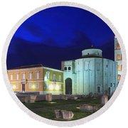 Roman Forum And St Donatus Church At Night Zadar Croatia Round Beach Towel