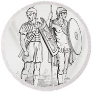 Roman Infantry Soldiers, After Figures On Trajans Column.  From The Imperial Bible Dictionary Round Beach Towel