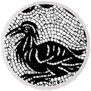Roman Mosaic Bird Round Beach Towel by Mair Hunt