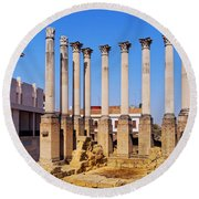 Roman Temple In Cordoba Round Beach Towel