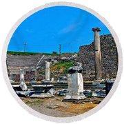 Roman Theatre In Pergamum-turkey  Round Beach Towel
